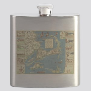 Vintage Cape Cod Map (1940) Flask
