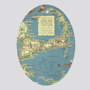 Vintage Cape Cod Map (1940) Oval Ornament