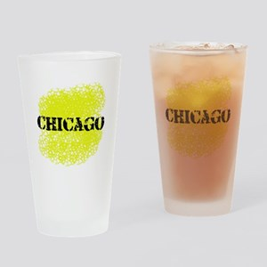 Chicago - Black and Yellow Drinking Glass