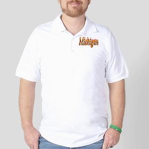Michigan Flame Golf Shirt