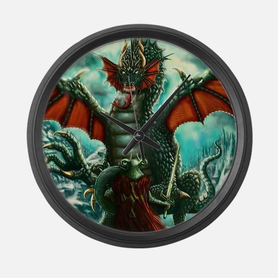 Warrior vs Dragon Large Wall Clock