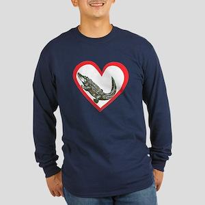Alligator Heart Long Sleeve Dark T-Shirt
