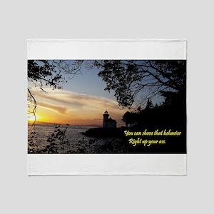 Sunset Lighthouse Throw Blanket
