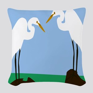 Two Great Egrets Woven Throw Pillow