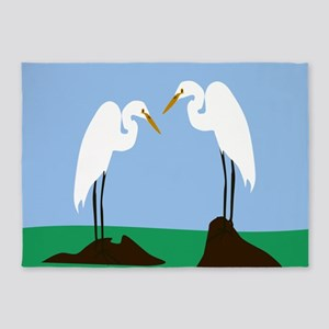 Two Great Egrets 5'x7'Area Rug