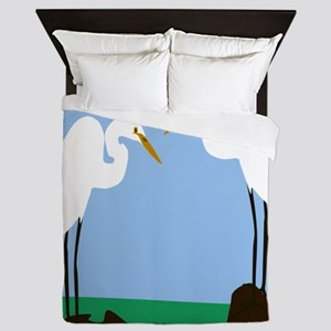 Two Great Egrets Queen Duvet