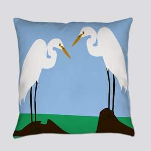 Two Great Egrets Everyday Pillow