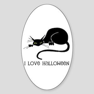 I Love Halloween Cat Oval Sticker