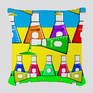 Chemist Beekers Woven Throw Pillow