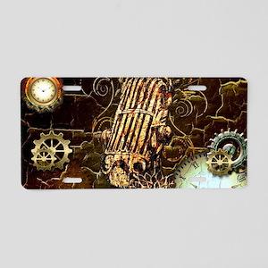 Steampunk, microphone Aluminum License Plate