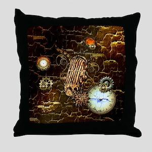 Steampunk, microphone Throw Pillow