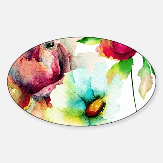 Colorful Watercolors Flowers Pattern Decal