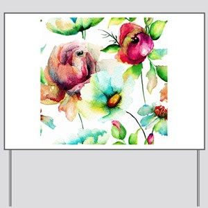 Colorful Watercolors Flowers Pattern Yard Sign