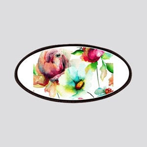 Colorful Watercolors Flowers Pattern Patch