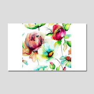 Colorful Watercolors Flowers Pa Car Magnet 20 x 12