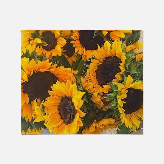 Cute Sunflowers Throw Blanket