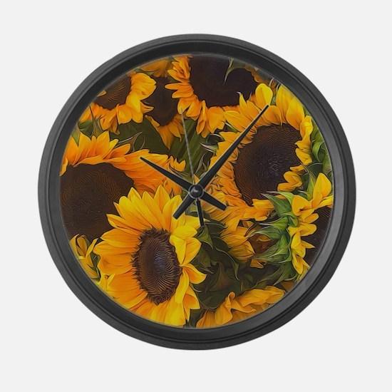 Cute Sunflowers Large Wall Clock