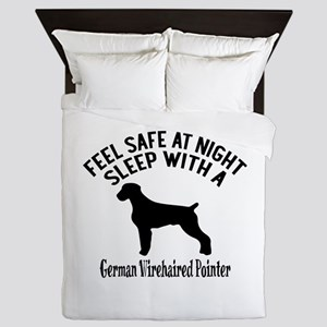 Sleep With German Wirehaired Pointer D Queen Duvet