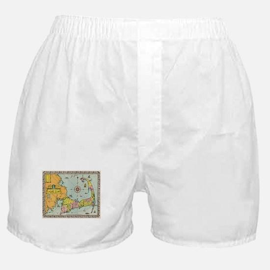 Vintage Map of Cape Cod Boxer Shorts