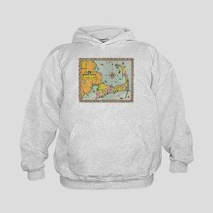 Vintage Map of Cape Cod Kids Hoodie