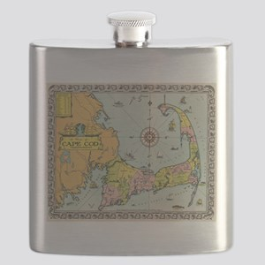 Vintage Map of Cape Cod Flask