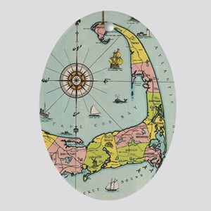 Vintage Map of Cape Cod Oval Ornament