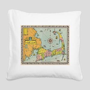 Vintage Map of Cape Cod Square Canvas Pillow