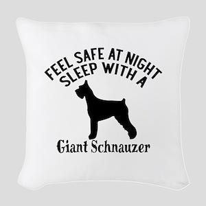 Sleep With Giant Schnauzer Dog Woven Throw Pillow