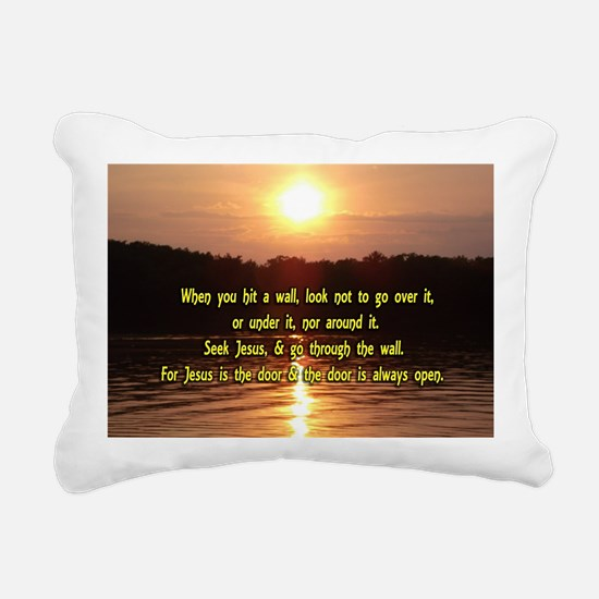 The Wall and Jesus Rectangular Canvas Pillow
