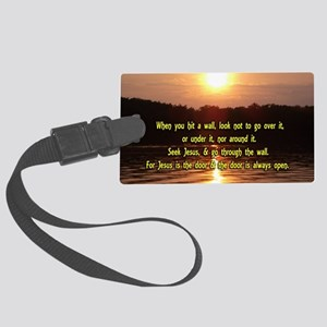 The Wall and Jesus Large Luggage Tag