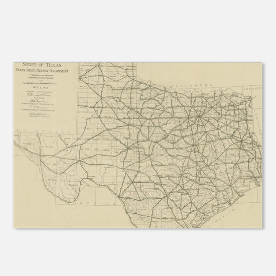 Vintage Texas Highway Map Postcards (Package of 8)
