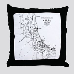 Vintage Map of The Chicago Railroad N Throw Pillow