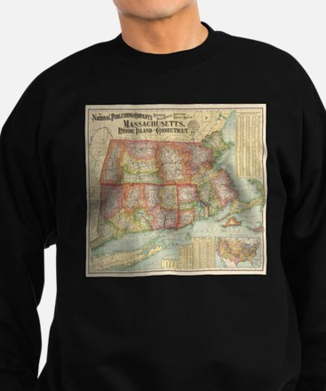 Vintage Map of New England State Sweatshirt (dark)