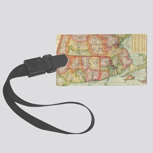Vintage Map of New England State Large Luggage Tag