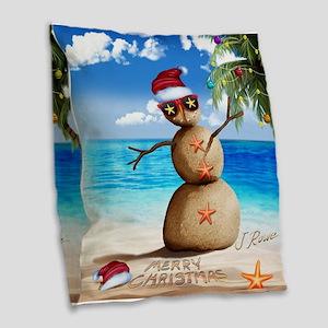 J Rowe Christmas Sandman Burlap Throw Pillow