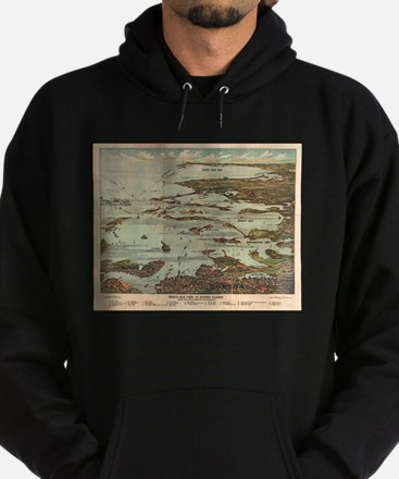 Boston Harbor Birdseye-view map Hoodie (dark)