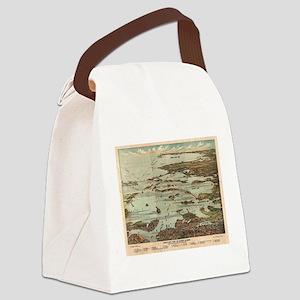 Boston Harbor Birdseye-view map Canvas Lunch Bag