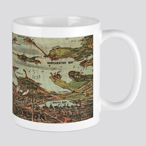 Boston Harbor Birdseye-view map Mugs