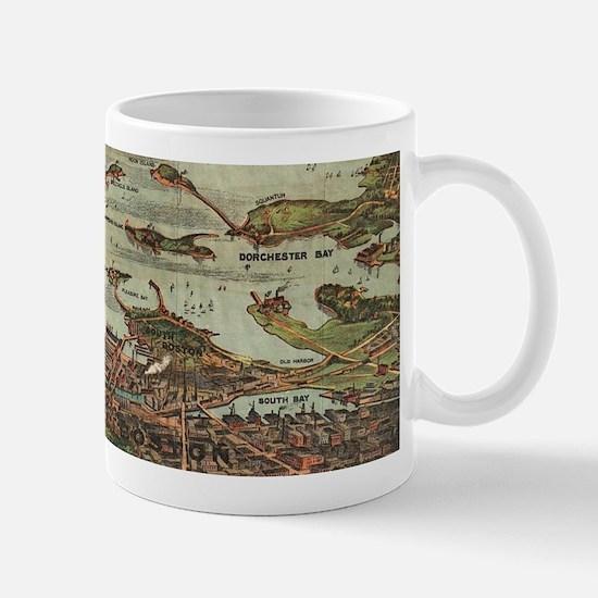 Boston Harbor Birdseye-view map Mugs