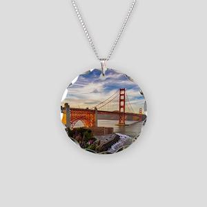 Golden Gate Bridge Necklace Circle Charm