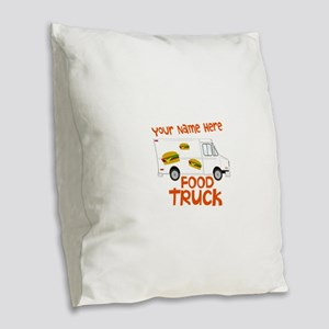 Food Truck Burlap Throw Pillow