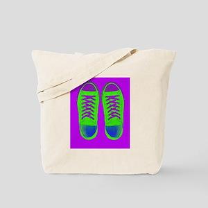 Purple Green Sneaker Shoes Tote Bag