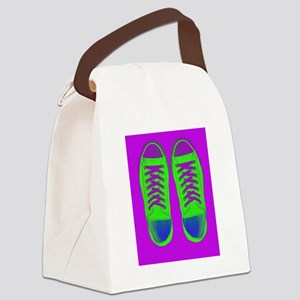 Purple Green Sneaker Shoes Canvas Lunch Bag