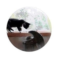 Cat and Angel Round Ornament