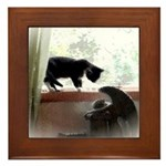 Cat and Angel Framed Tile