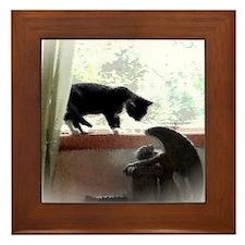 Cat and Angel Framed Tile
