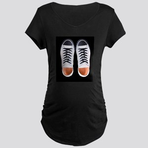 Black and White Sneaker Shoes Maternity T-Shirt