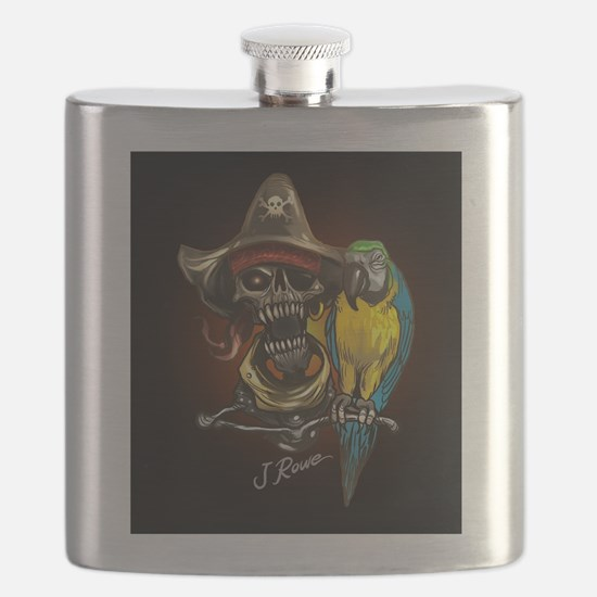 J Rowe Pirate and Parrot Black Background Flask