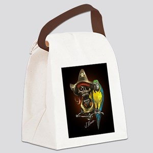 J Rowe Pirate and Parrot Black Ba Canvas Lunch Bag