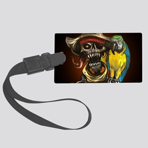 J Rowe Pirate and Parrot Black B Large Luggage Tag